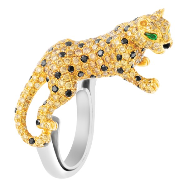 Spotted Leopard ring with white, champagne and black diamonds