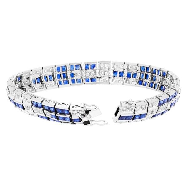Sapphire & diamond platinum bracelet