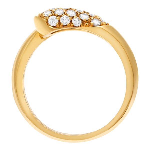 Bvlgari Pave Diamond ring in 18k yellow gold. 0.50 carats. Size 6