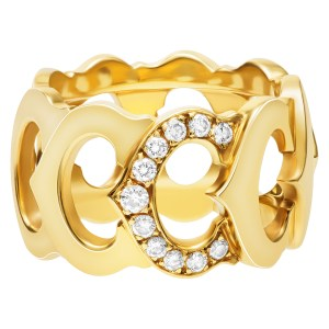 """Cartier """"C de Cartier' ring in 18k with single set with app. 0.30 cts in diamonds"""