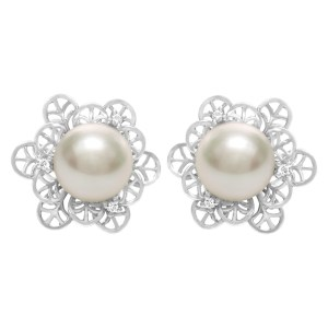 South Sea pearls earrings in 18k with diamond accents