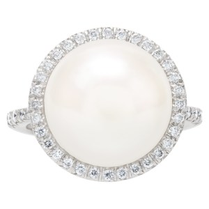 Pearl and diamond ring in 18k white gold. 13.2mm south sea pearl. 0.59 carats