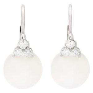 South Sea diamond pearl earrings in 18k white gold. 0.54cts in diamonds