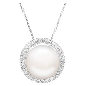 South Sea pearl pendant necklace with diamonds in 18k white gold chain. 0.77cts