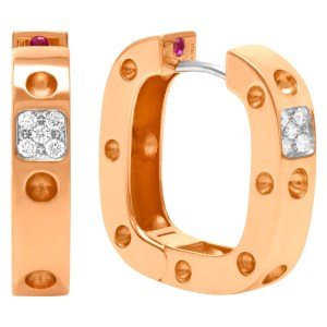 Roberto Coin Pois Moi Single row square earrings with diamonds in 18k rose gold