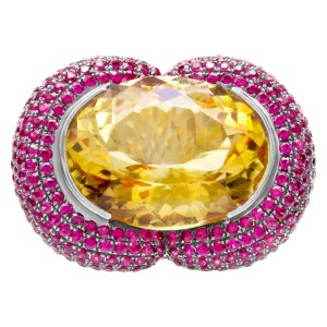 Citrine, rubies and black diamonds ring set in 18k white gold ring. 27.40cts citrine