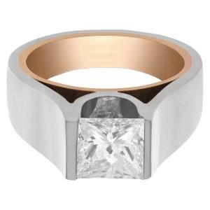 GIA certified rectangular modified brilliant diamond ring. 1.49 carat (H, VS2) set in 18k white and yel