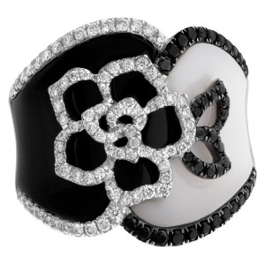 White and black enamel with pave diamond accents in 18k white gold. Under 1 ct.