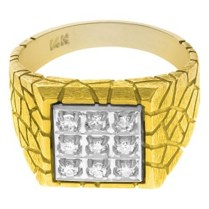 Gents diamond ring set in 14k yellow gold. 0.50 carats in diamonds. Size 10