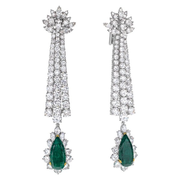 Drop diamond earrings with pear shaped emerald in platinum. 20 carats in diamonds, 9 carats in emeralds