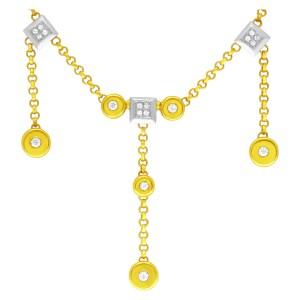 Italian style diamond necklace in 18k yellow gold. 1.15 carats in diamonds