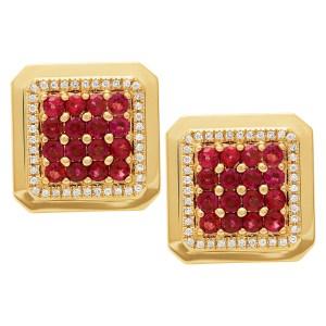 Ruby & diamond cufflinks in 18k yellow gold. 3.20 carats in rubies
