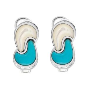 Diamond set of earrings and ring in 14k white gold