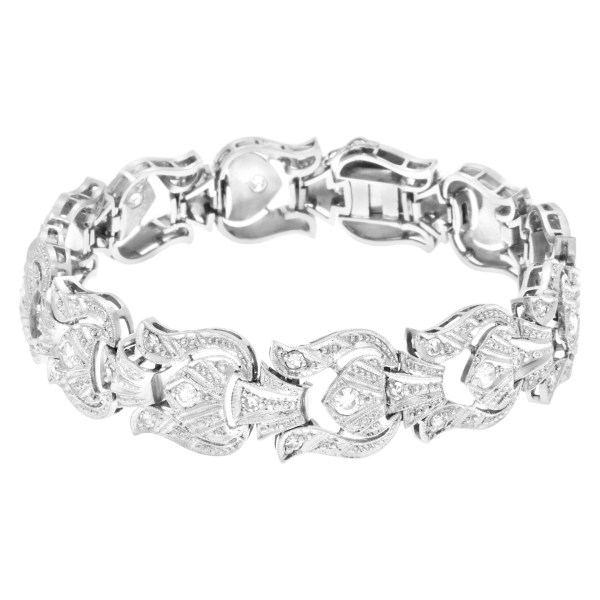 Art Deco filagree link platinum bracelet 1.00 carat in round diamonds.