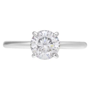 GIA certified round brilliant cut diamond 1.22 carat (G color, SI1 clarity) ring