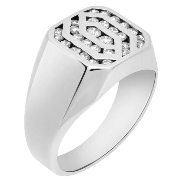 Diamond ring (0.35 carat) in 14k white gold. Size 8.75