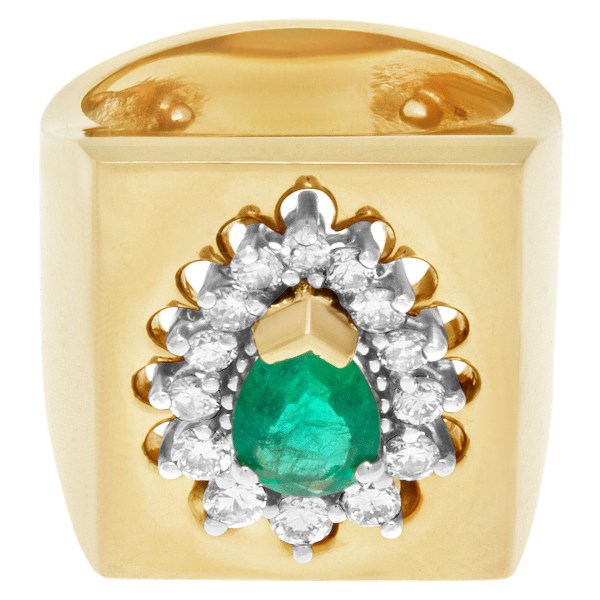 Emerald & diamond ring in 14k yellow gold with approximately 2 carats in diamonds