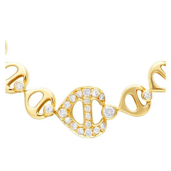 Choker necklace in 18k yellow gold with over 1.00 carats in  round diamonds