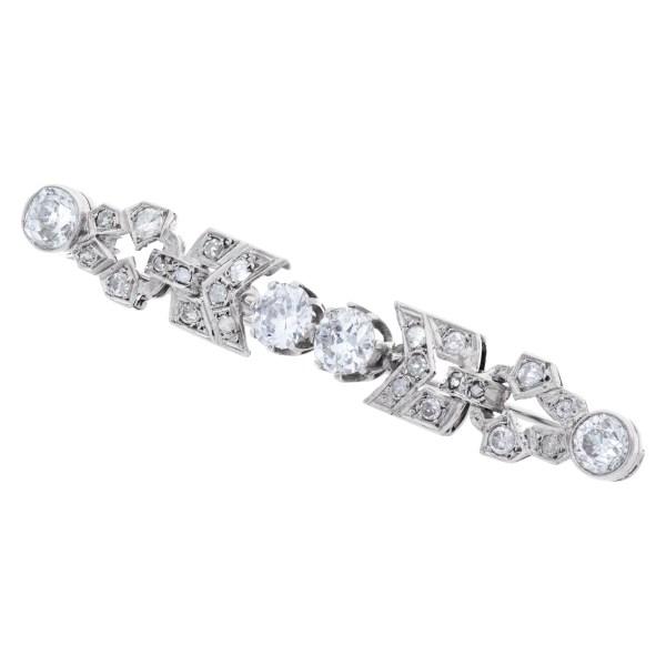 Art Deco platinum pin with European cut diamonds