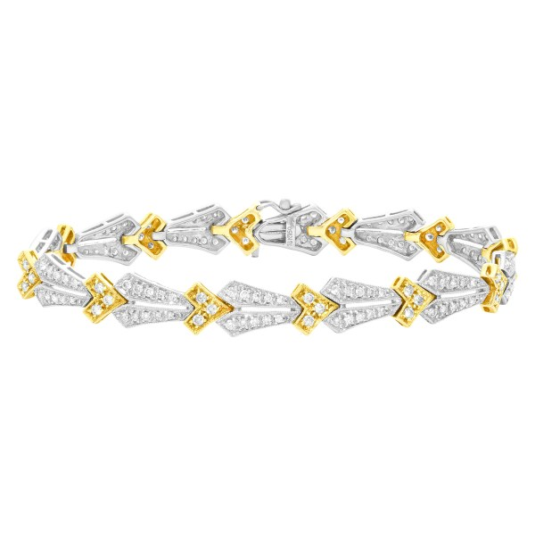 18k Yellow gold and Diamond bracelet with 2 carats in diamonds