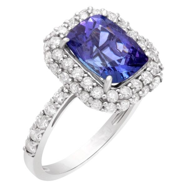 AIG certified 2.06 carats tanzanite ring in 14k white gold