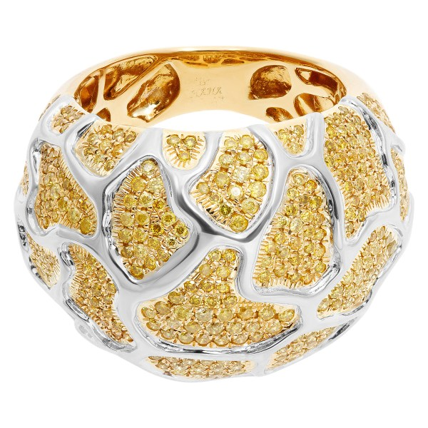 Fashionable ring with yellow diamonds in 18k gold