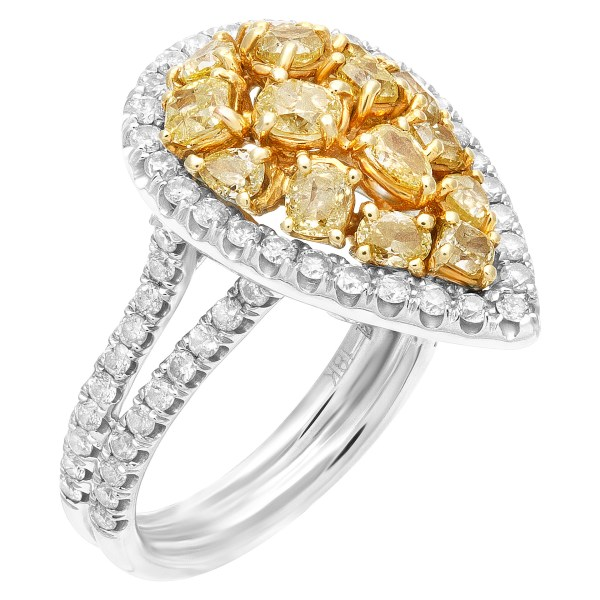Drop white and fancy diamond ring in 18K white gold