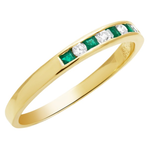 Emerald and diamond band in 18k gold