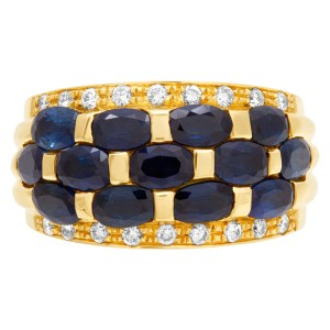 Blue sapphire (2.0cts) and diamond ring (0.20ct) in 18k gold