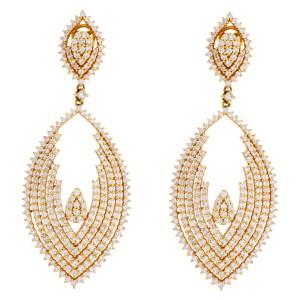 Ladies diamond dangle earrings set in 18k gold. 7.32 carats in diamonds