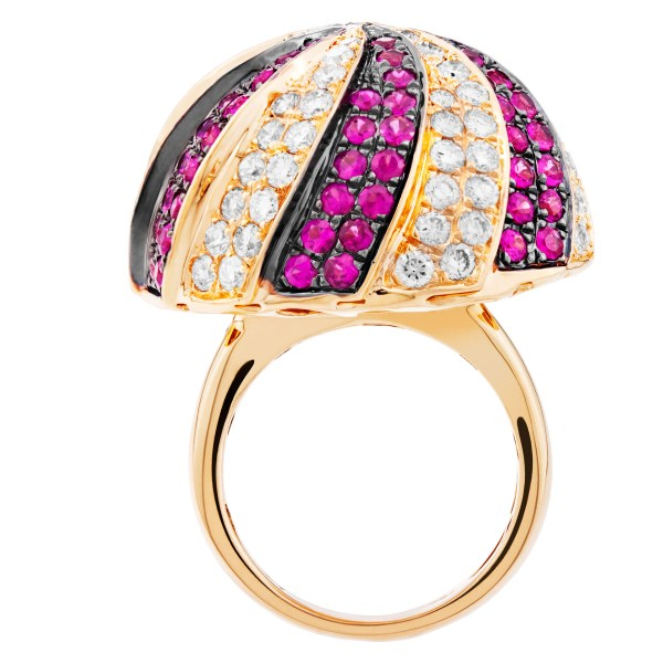 Domed diamond and ruby ring in 18k gold 3.08cts in diamonds and  2.99cts in rubies