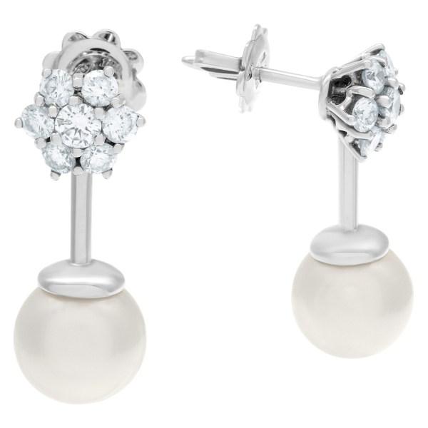 Diamond pearl earrings in 18k white gold