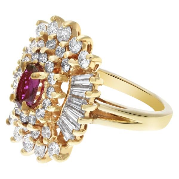 Ruby & diamond ballerina ring in 14k yellow gold