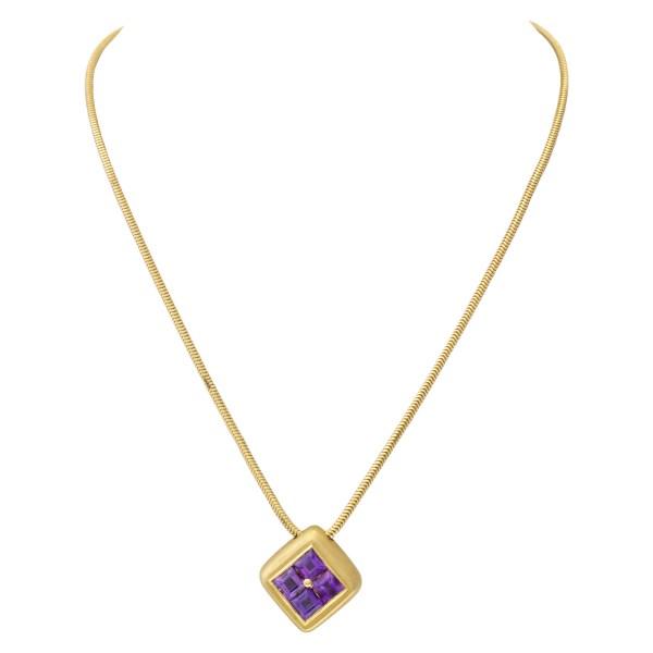 Amethyst pendant necklace in 18k