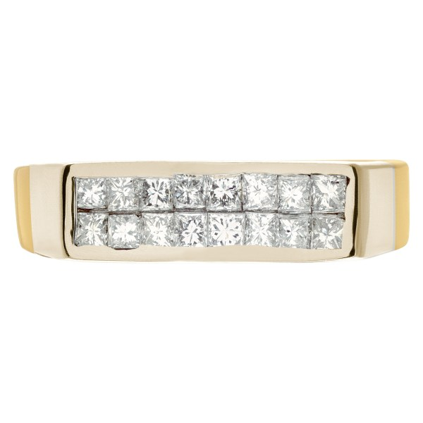Mens diamond ring in 14k yellow gold with .64 cts in diamond accents