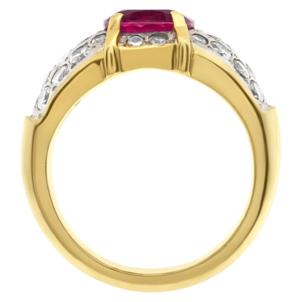 Ladies 2ct pink sapphire ring with diamond accents in 18k gold