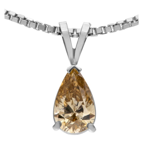 GIA certified 1.11 carat natural, fancy brown-yellow, even VS1 pear cut diamond on white gold pendant and chain .