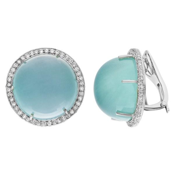 Aqua chalcedony diamond earrings in 18k white gold