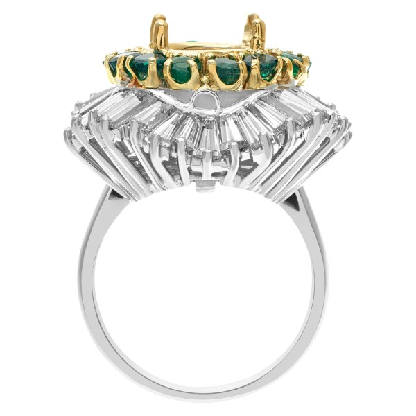Platinum Ballerina Ring Setting with over 3.0 carats in tapered baguette diamonds and approx. 1.0 ca