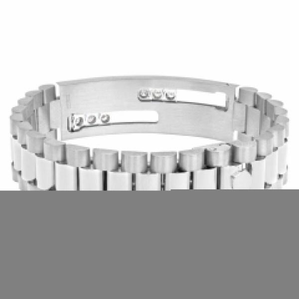 """""""President"""" link I.D. style bracelet with sliding diamonds in 14k white gold"""