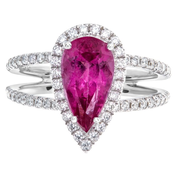 Pear shaped pink sapphire (2.22cts) with diamond accents ring in 18k white gold
