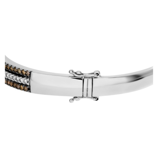 Chocolate brown and white diamond bangle in 14k white gold