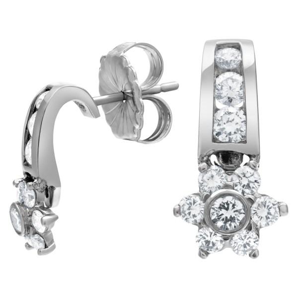 Diamond flower earrings in platinum approximately 0.60 carat in diamonds