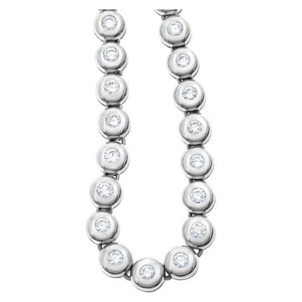Bezel set diamond necklace with 6.60 carats in diamonds in 18k white gold