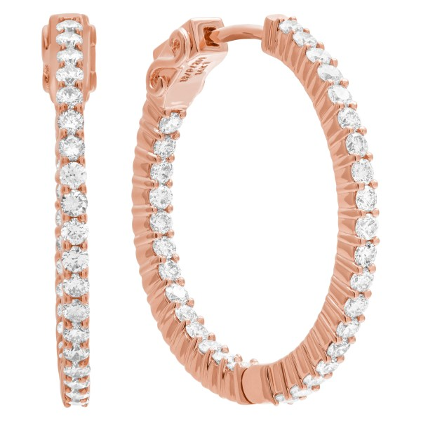 """""""Inside/out"""" 14k rose gold hoop earrings with 1.65 carats in diamonds"""