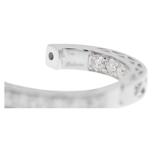 """""""Inside/out"""" 14k white gold hoop earrings with 2.86 carats in full cut round brilliant diamonds"""