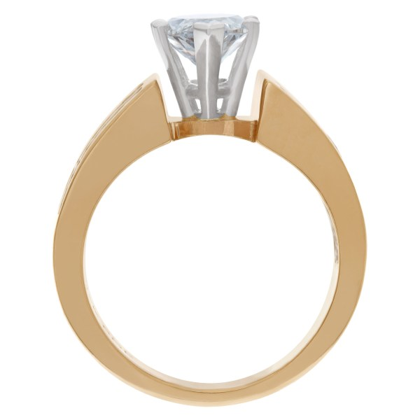 Marquise diamond 1.52 carats F Color, SI2 clarity in a 14k yellow gold and platinum setting with approx. 2 carats in side diamonds