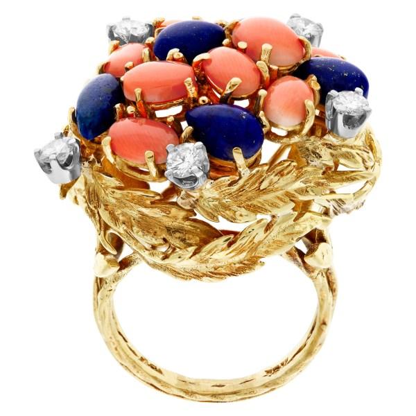 Lapiz lazuli & coral garden ring in 18k with diamond accents