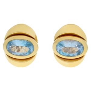 Marina B Blue Topaz Earrings set in 18k yellow gold