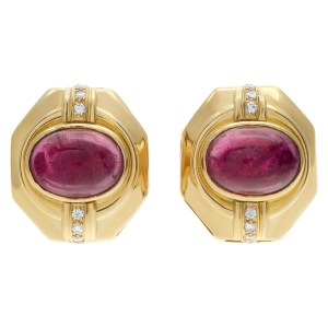 """""""Etruscan Revival"""" clip on with post 18K yellow gold earrings with Oval Cabochon Pink Tourmaline center & Diamonds accent"""